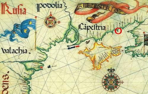 Старинная карта Крыма, Чёрного и Азовского морей